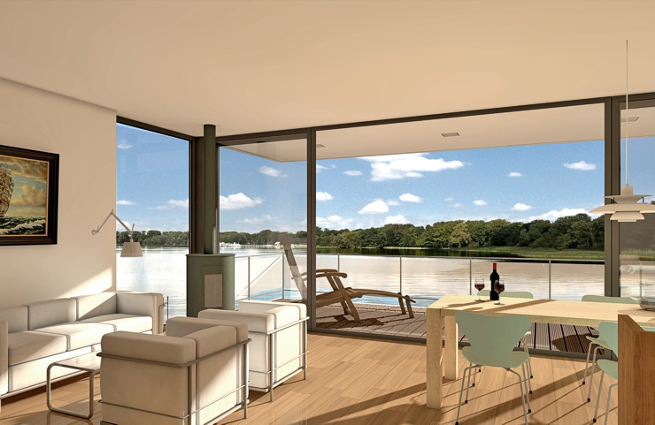 schwimmendes ferienhaus modell 100 qm. Black Bedroom Furniture Sets. Home Design Ideas